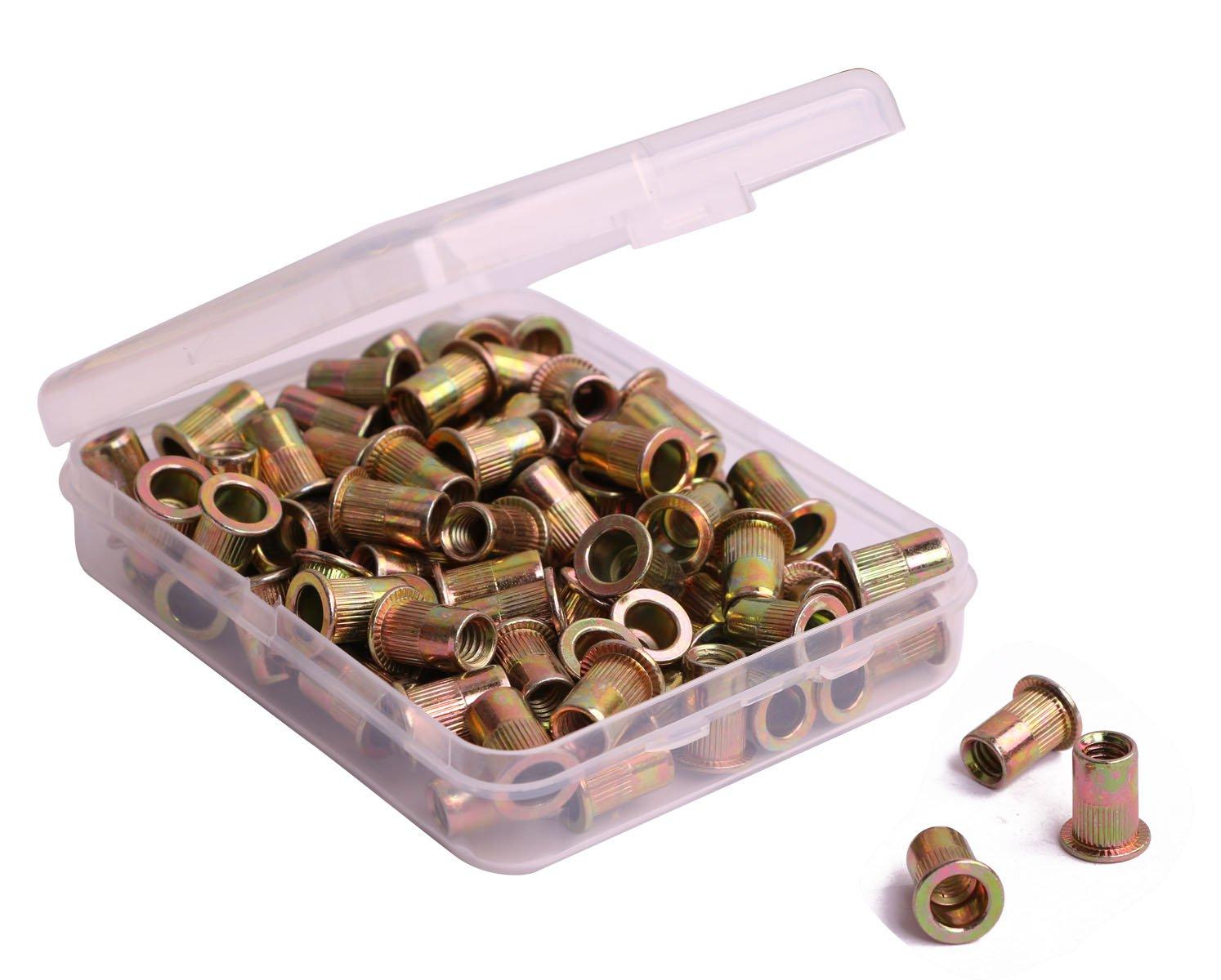 100Pcs Flat Head Steel Rivet Nut Rivnut Insert Nutsert 1//4-20 Zinc Plated Carbon