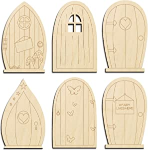 "24pcs Fairy Garden Door 6 Designs Wooden Fairy Doors DIY Craft Kit Blank Unfinished Tooth Fairy Door Miniature -3.9""x2.5"""