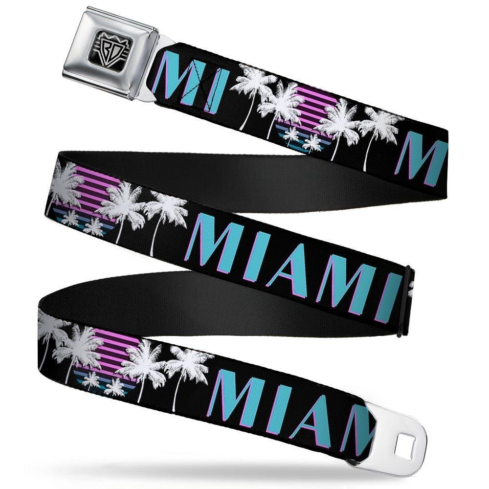 MIAMI//Palm Trees Black//White//Pink////Teal 20-36 Inches in Length 1.0 Wide Buckle-Down Seatbelt Belt