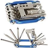Herramienta multiusos para bici Mture, 11 en 1, de acero inoxidable, desplegable, de bolsillo, color azul