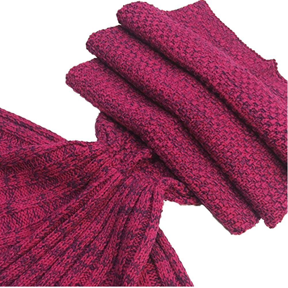 Roluck Mermaid Tail Blanket Handmade Warm Keeper Autumn Winter Blanket for Girls (Rose Red) by Roluck (Image #5)