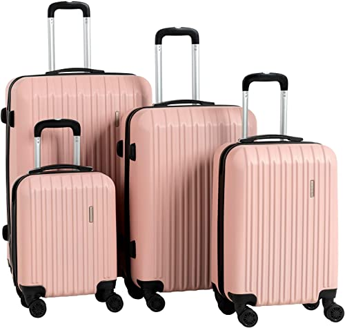 Murtisol Travel 4 Pieces ABS Luggage Sets Hardside Spinner Lightweight Durable Spinner Suitcase 16 20 24 28 , 4PCS Rose Gold