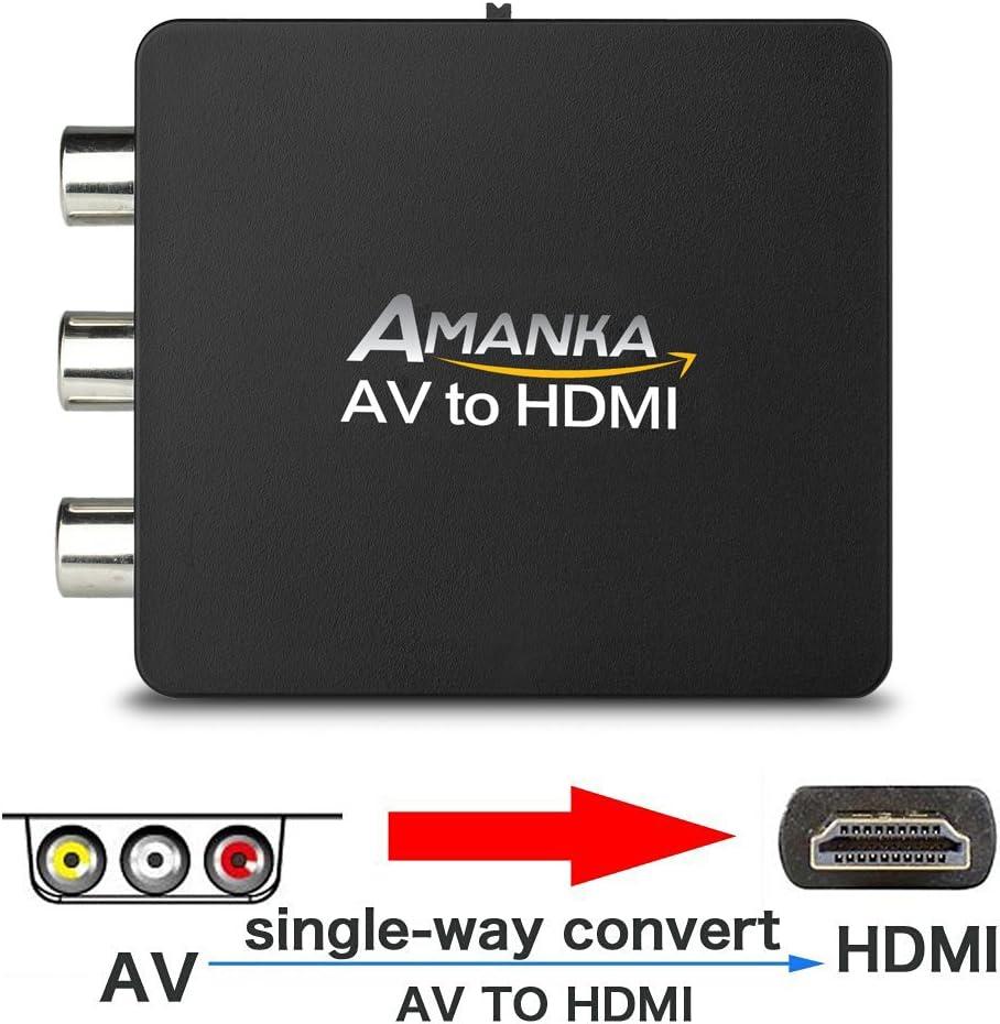 AMANKA Mini Conversor AV a HDMI Convertidor Compuesto RCA CVBS ...