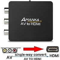 Amanka RCA Composite CVBS AV to HDMI Video Audio Converter Adapter Mini Box Support 1080P for TV/PC/PS3/Blue-Ray DVD,Black