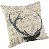 "Createforlife Home Decor Cotton Linen Square Throw Pillowcase Cushion Cover Pillow Shams Blue Deer Antlers 18"" x 18"""