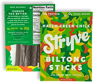 product image for Stryve Mini Snack Beef Sticks. 14g Protein, Sugar Free, No Carbs, Gluten Free, No Nitrates, No MSG, No Preservatives. Keto and Paleo Friendly. Hatch Green Chile, 2.5oz 2-Pack