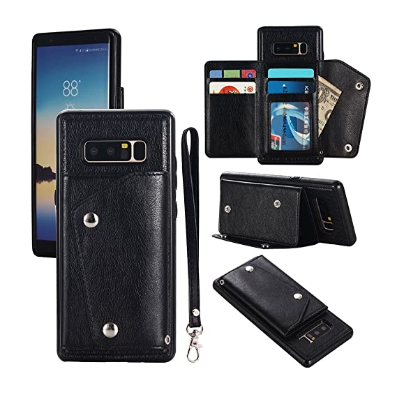 finest selection 8f6d9 3cec1 Galaxy Note 8 Case, Note 8 Card Holder Case,Premium PU Folio Flip Galaxy  Note 8 Wallet Case with Credit Card Slots Shock-Absorbing Protective Case  for ...