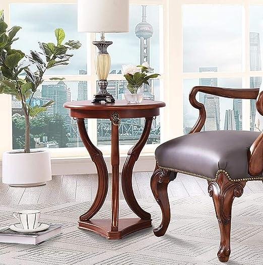 Amazon.com: YANL-Side Table Coffee Table Solid Wood Round ...