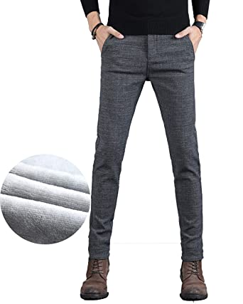 81e6c6b0 COLINNA Men's Fleece Lined Jeans Winter Thicken Stretch Jeans Skinny Denim  Pants Casual Trousers