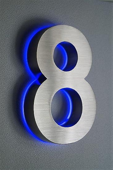 HAUSNUMMER EDELSTAHL Nr.8 / H18cm / V2A / beleuchtet / LED blau ...