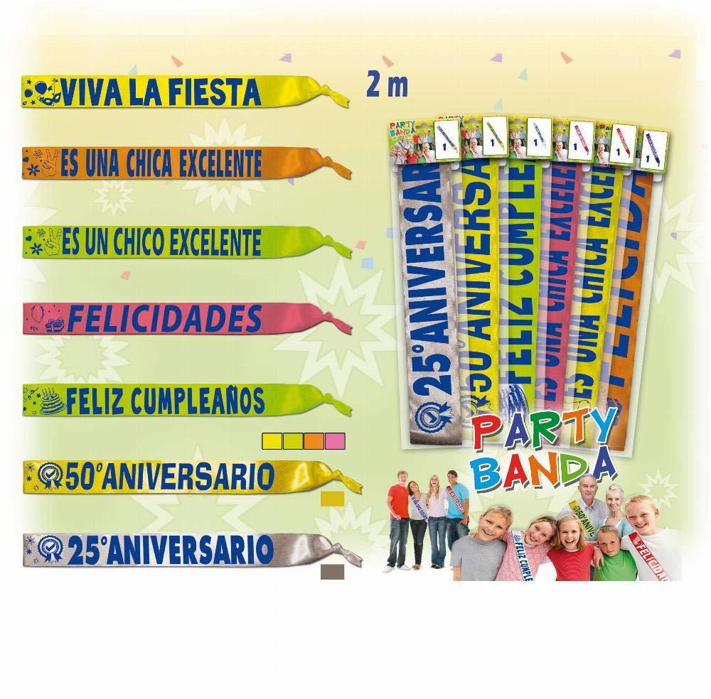 BANDA FELIZ CUMPLEAÑOS 2M MIX COLORES 1 UND: Amazon.es: Hogar