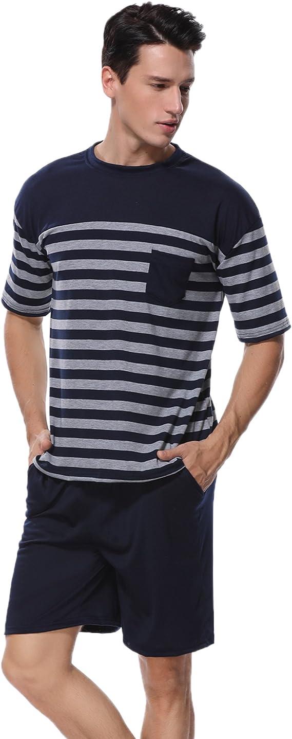 ADOME Pigiama Uomo Short Top Pigiami Pigiameria T-Shirt Summer Nero