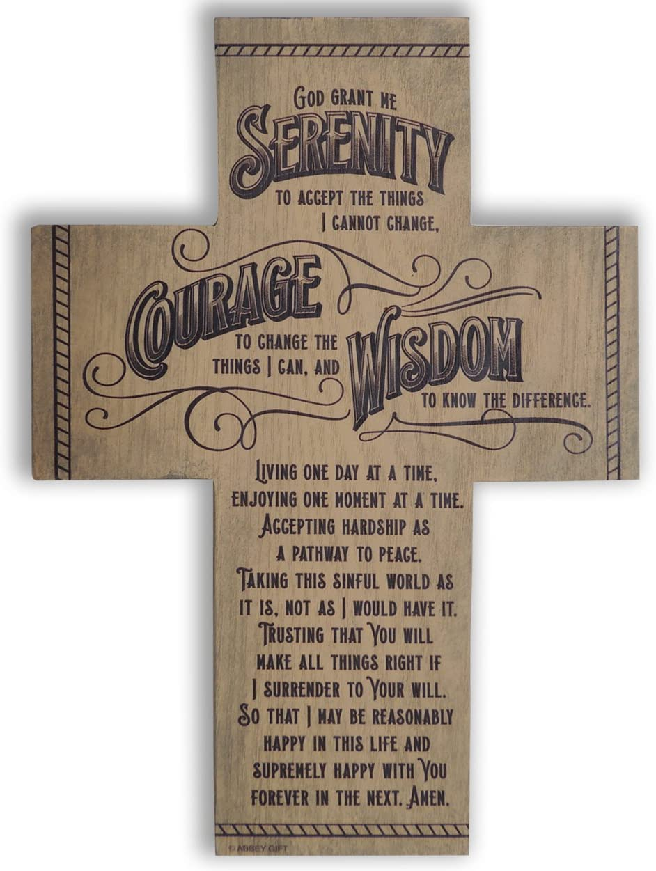 Abbey Gift Serenity Prayer Wood Cross with Easel