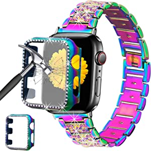 Mesime Compatible for Apple Watch Band 38mm 40mm 42mm 44mm with Screen Protector Case, Jewelry Replacement Metal Band & 2-Pack Bling Full Cover Protective Case for iWatch Series 6/5/4/3/2/1(Colorful)
