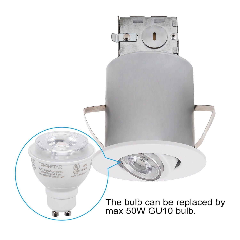 TORCHSTAR Recessed Lighting Kit: 3-Inch ETL-listed Airtight IC Housing + White Swivel Trim + LED Dimmable GU10 Light Bulb Warm White, Rotatable Spotlight, Decorative Retrofit Downlight, Pack of 6 by TORCHSTAR (Image #3)