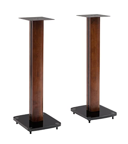 TransDeco Fixed Height Glass And Steel Speaker Stands 30 Inch