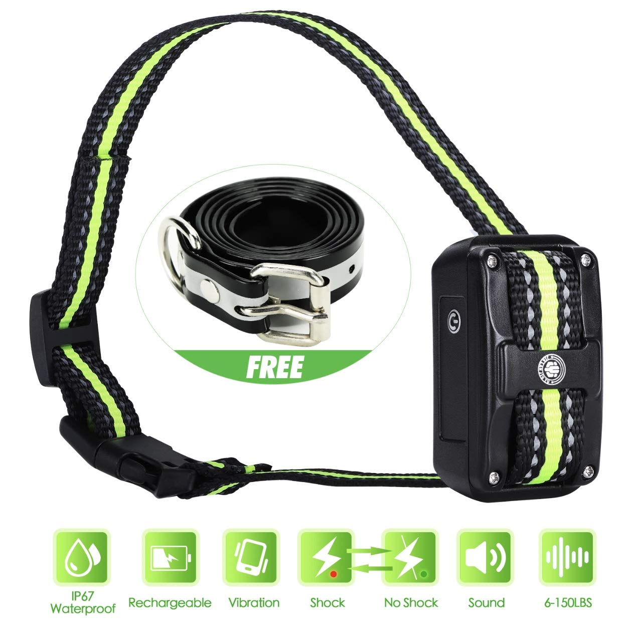 Bark Collar [ Newest 2019 Upgraded ] Rechargeable Shock Training Collar with IP67 Waterproof and Smart Detection Module w/Triple Anti Barking Modes: Beep/Vibration/Shock for Small/Medium/Large dogs