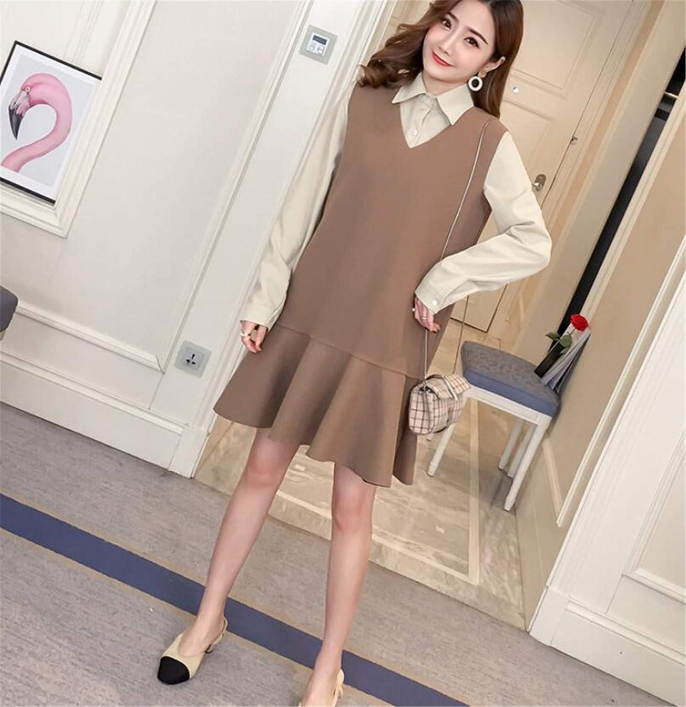 A Maternity Wrap Dress, Comfortable Fabric Long Sleeve Cotton Shirt Two Piece Vest Dress Maternity Dress (Vest + Shirt)