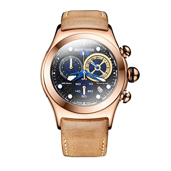 Reef Tiger Hombres del Deporte Relojes oro rosa Funda correa de piel cronógrafo relojes rga782 (