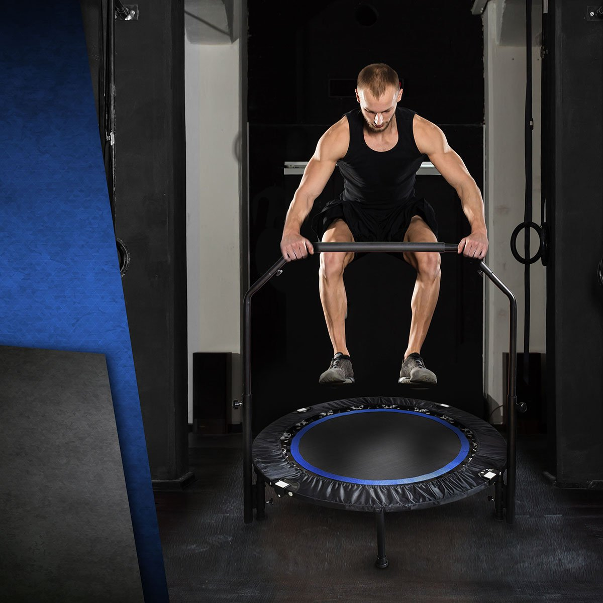 Mini Exercise Trampoline for Adults - Indoor Fitness Rebounder with Adjustable Handle Bar for Kids - Spring Cover and Folding Legs For Small Storage by Activox (Image #6)