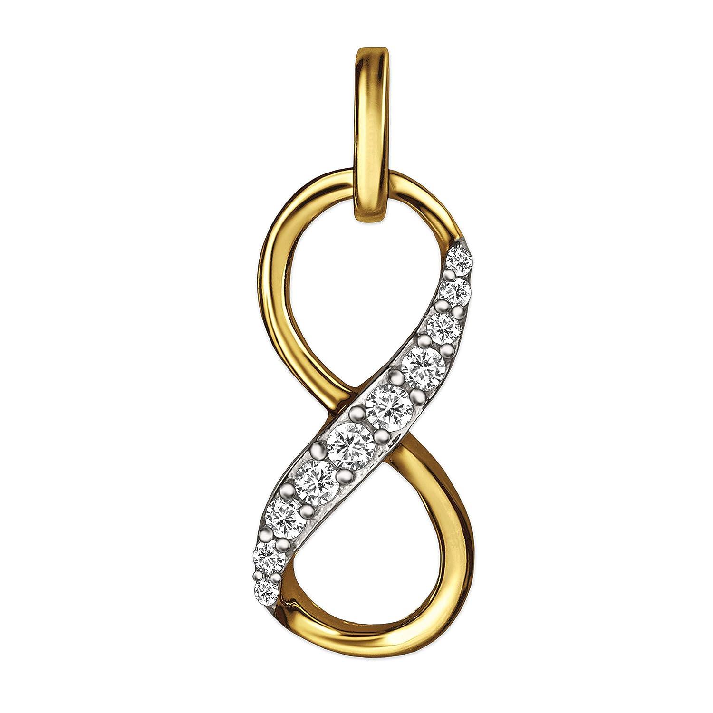 CLEVER SCHMUCK Goldener Anhä nger Unendlichkeitszeichen Infinity 16 x 7 x 4 mm mm mit Vielen Zirkonias mittig erhaben, teils Bicolor 333 Gold 8 Karat ahg836