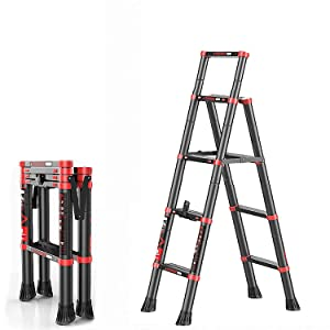 GuaziV Telescoping Ladder A-Frame Extension Portable Aluminum Telescoping Steps Ladder EN131 Certified 330lb Load(Red Black 4+5)