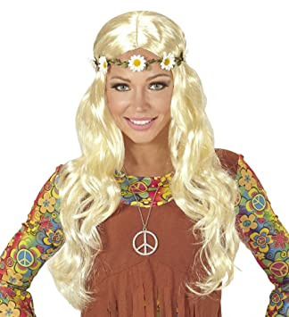 shoperama Claro Blonde años 60 Flower Power Hippie Peluca ...