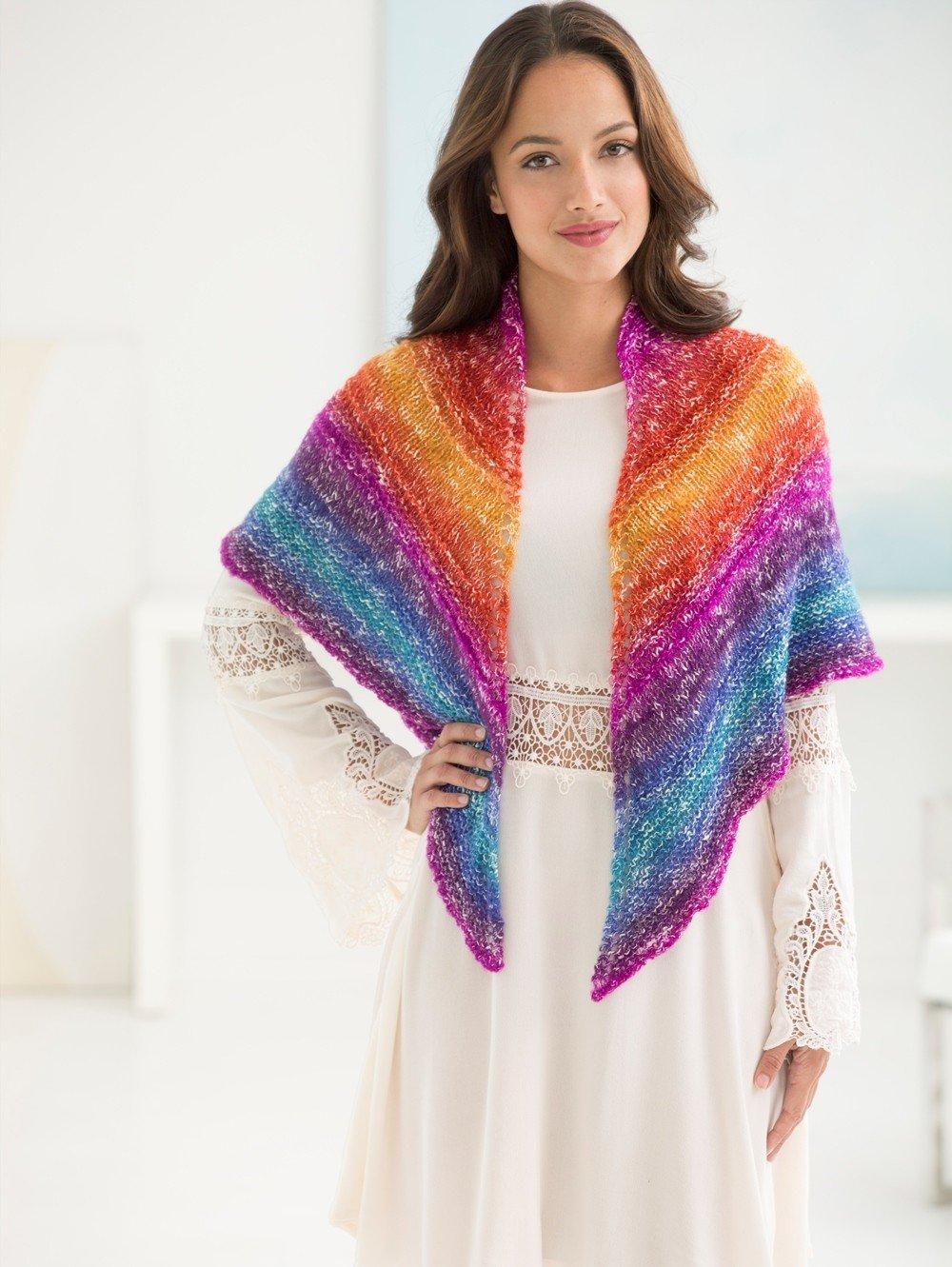 Lion Brand Yarn Shawl in a Ball Yarn, 6-Pack (Restful Rainbow, 828-201)