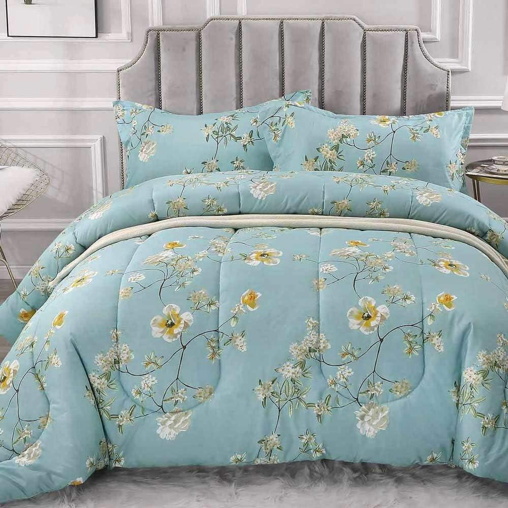NANKO Comforter Set King Size, Reversible Down Alternative Comforter Microfiber Duvet Sets (1 Comforter + 2 Pillow) Best Country Style Floral Leaf Vintage Flower Print Bedding, 104x90 inch Teal Green