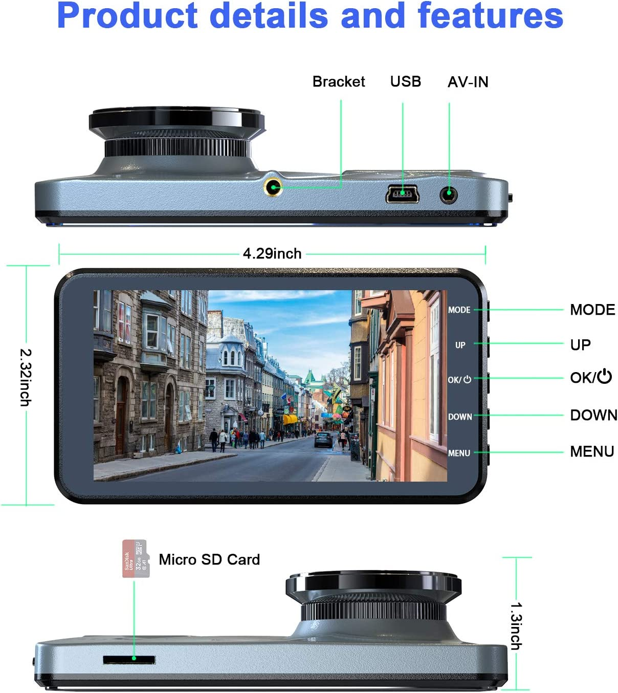 2020 Upgraded Version Full HD 1080P 4 Inch IPS Screen Car Camera for Cars Cycle Recording and Parking Monitoring Equipped with 170/°Wide Angle Contain 32GB SD Card G-Sensor Dual Dash Cam