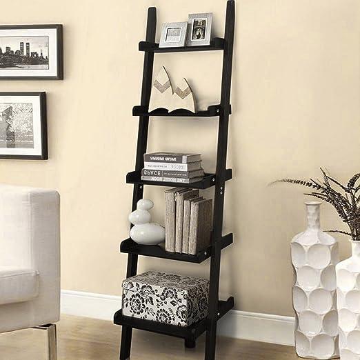 Estantería de madera MultiWare, de 5 niveles, con forma de escalera apoyada sobre la pared, estantes de almacenamiento, biblioteca: Amazon.es: Hogar