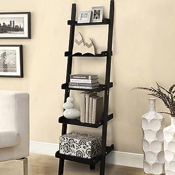 Allright Vintage Wooden Ladder Bookshelf Wall Lean 5 Tiers Display Unit Bookcase Black