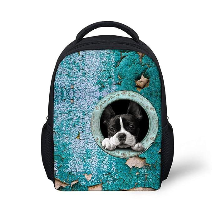 c24d3d98e3a HUGS IDEA Cute Puppy Boston Terrier Little Kids Backpack Kindergarten Baby  Small Bag