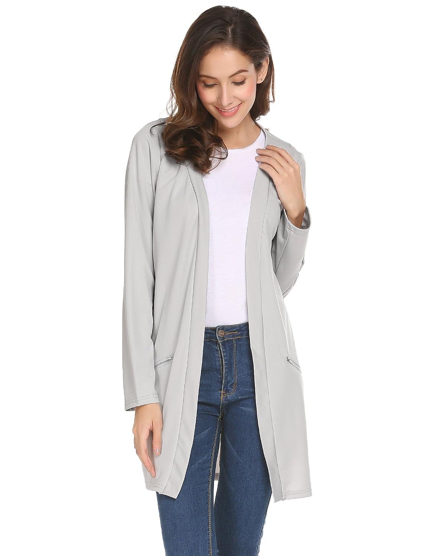 Beyove Damen Jacke Sweatjacke langer Blazer Outerwear Übergangs jacke Vorne Offen ohne Knöpfe Seite Taschen Winter Frühling Herbst