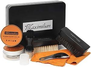 Premium Shoe Polish & Shine Kit   Leather Shoe Care Kit with Black Polish, Shoe Horse Hair Brushes for Polishing, Shine Cloth & Shoe Horn. Shoe Cleaning Kit. Gifts for Stocking Stuffers On Christmas.