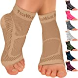 TechWare Pro Ankle Brace Compression Sleeve - Relieves Achilles Tendonitis, Joint Pain. Plantar Fasciitis Sock with Foot…
