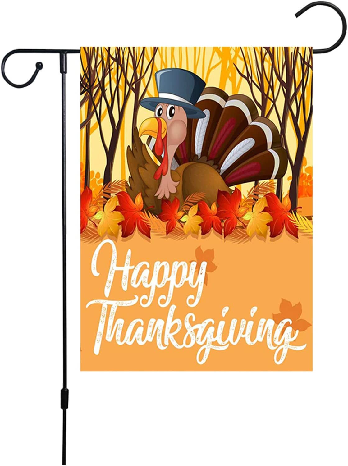 Doicuik Thanksgiving Turkey Garden Flag - Turkey Harvest Fall Decorations Double Sided Burlap House Flags for Home Decor Indoor Outdoor 12 x 18 Inch