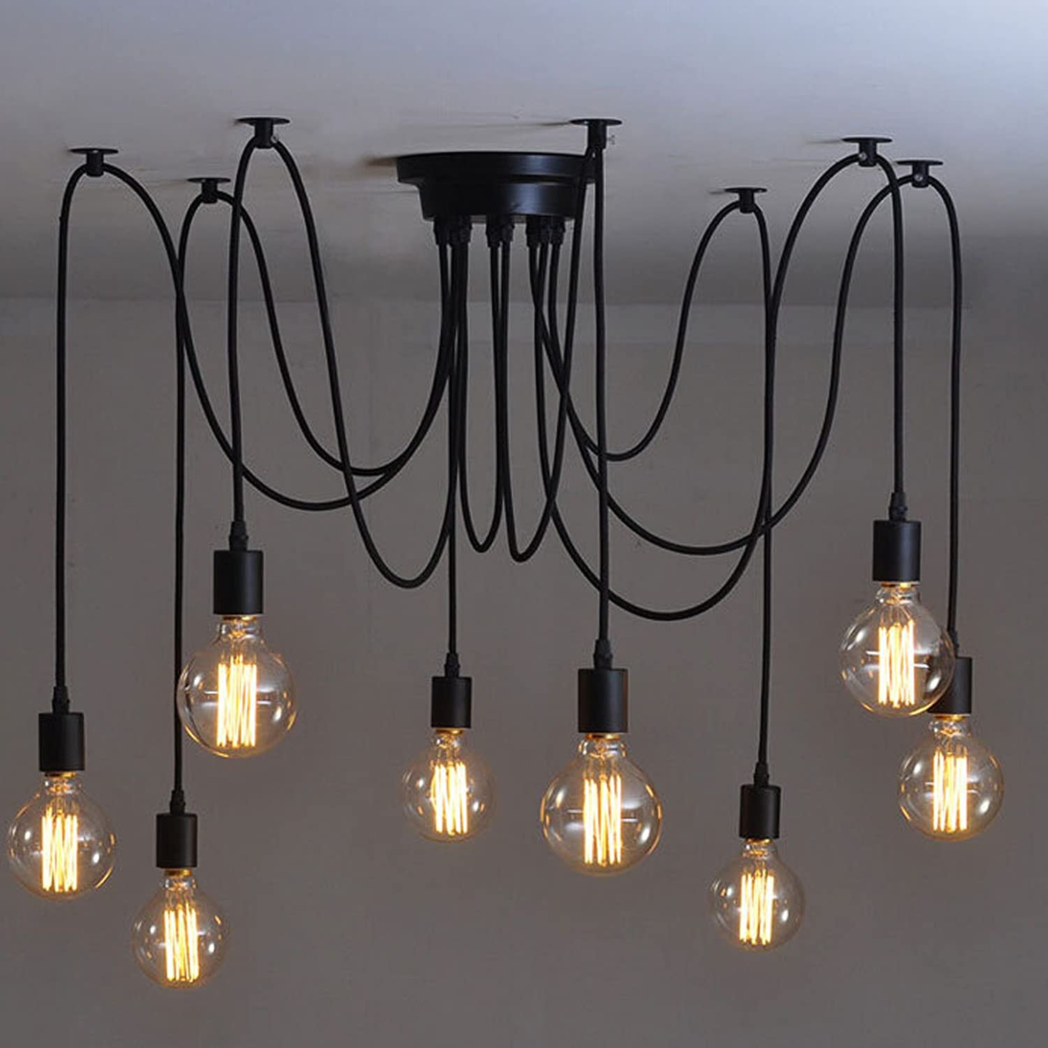 Lemonbest Vintage E27 Industrial Fixture Retro Pendant Light Ceiling Lamp  Chandelier 8 Bulb Light Sockets     Amazon.com