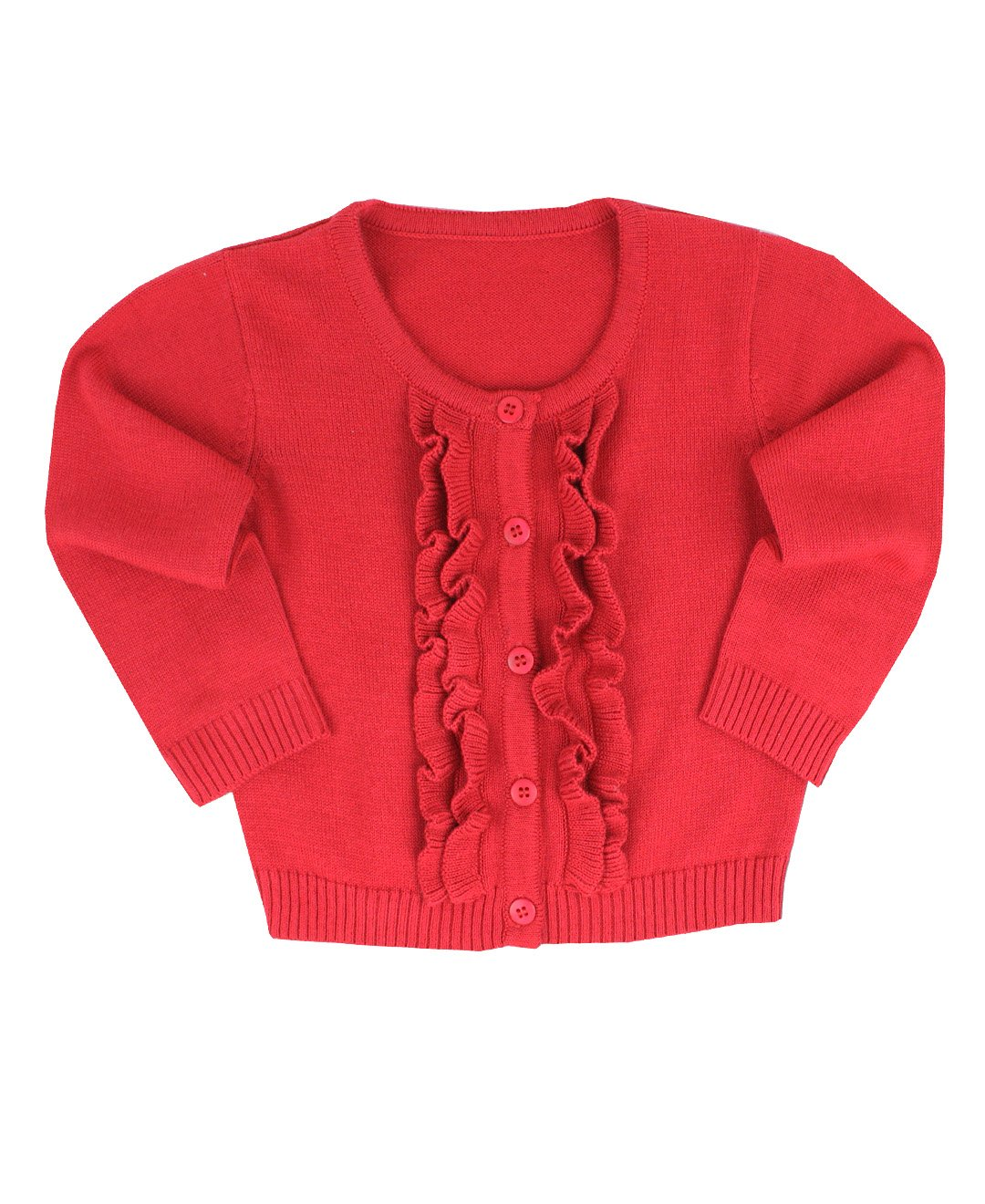 RuffleButts Little Girls Ruffled Long Sleeve Cardigan HOSYYXX-CARD-SC-TDLR