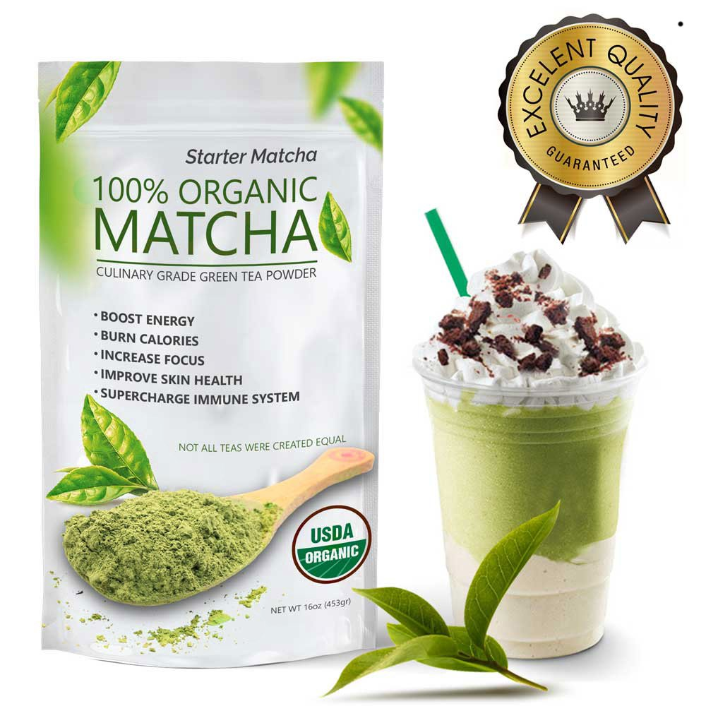 Starter Matcha (16oz) - USDA Organic, Kosher & Non-GMO Certified, Vegan and Gluten-Free. Pure Matcha Green Tea Powder. Grassy Flavor with Mild Natural Bitterness and Autumn-Green color