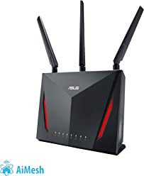 ASUS RT-AC86U- Router Gaming AC2900 Doble Banda Gigabit (QoS, USB 2.0 & 3.0, MU-MIMO, Triple VLAN, Ai-Mesh soportado)