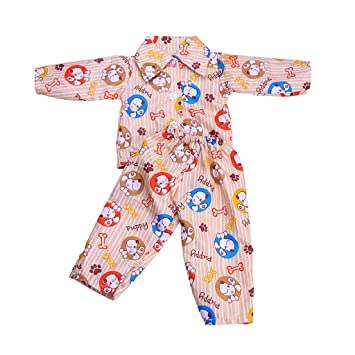 6169db785fc8 MagiDeal Cute Puppy Dog Printed Pajamas PJS Sleepwear Clothes for 18 inch  American Girl Logan Boy Doll Light Brown  Amazon.co.uk  Toys   Games