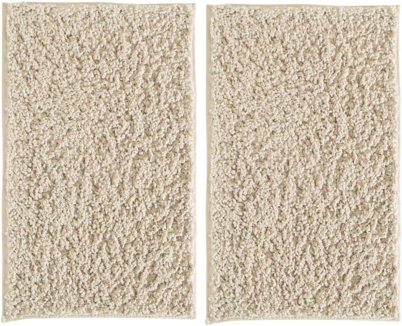 "mDesign Soft Microfiber Polyester Non-Slip Rectangular Shag Mat, Plush Water Absorbent Accent Rug for Bathroom Vanity, Bathtub/Shower, Machine Washable - 34"" x 21"" - Pack of 2, Wheat"