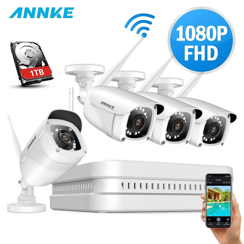 ANNKE Kit de Seguridad 1080P 8CH WIFI NVR H.265 y 4 Cámaras de Vigilancia inalámbricas 2.0MP Impermeable de visión nocturna 1TB disco duro de ...