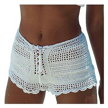 Amazon Hunzed Women Sexy Openwork Crochet Shorts Pants Casual