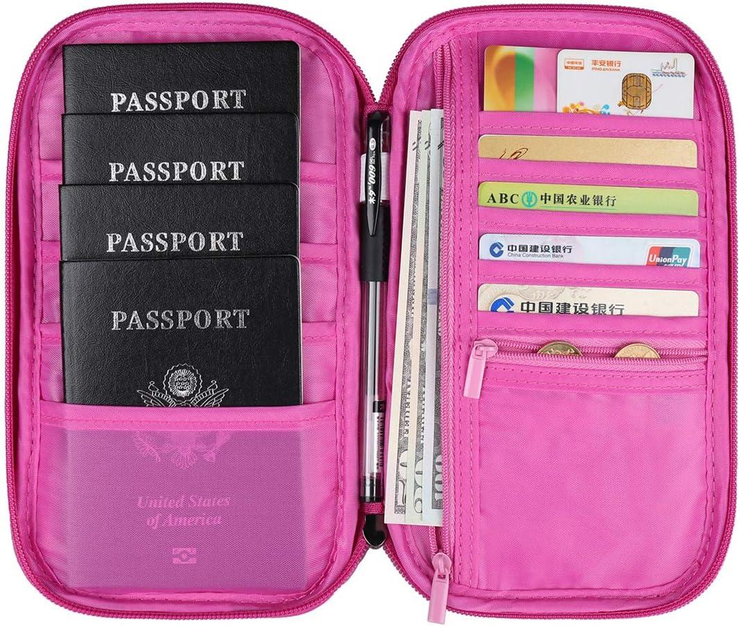   VanFn RFID Travel Passport Wallet, Family Passport Holder, Trip Document Organizer P.Travel Series (Rose Red)   Travel Wallets