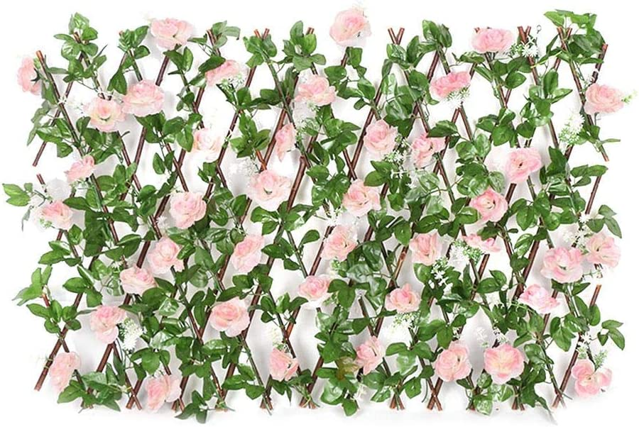 Lorchwise Artificial Flower Leaves Garden Decoration, Rose Artificial Telescopic Fence, Wooden Hedge Privacy Flower Barrier Privacy Trellis Screen for Garden Outdoor Yard Decor, 28-32 X 200cm