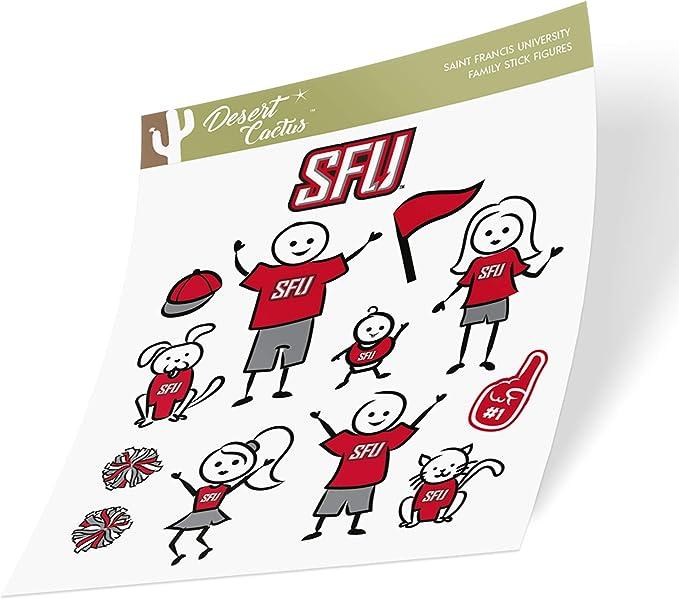 Saint Francis University SFU Red Flash NCAA Sticker Vinyl Decal Laptop Water Bottle Car Scrapbook Type 1-1 Sheet