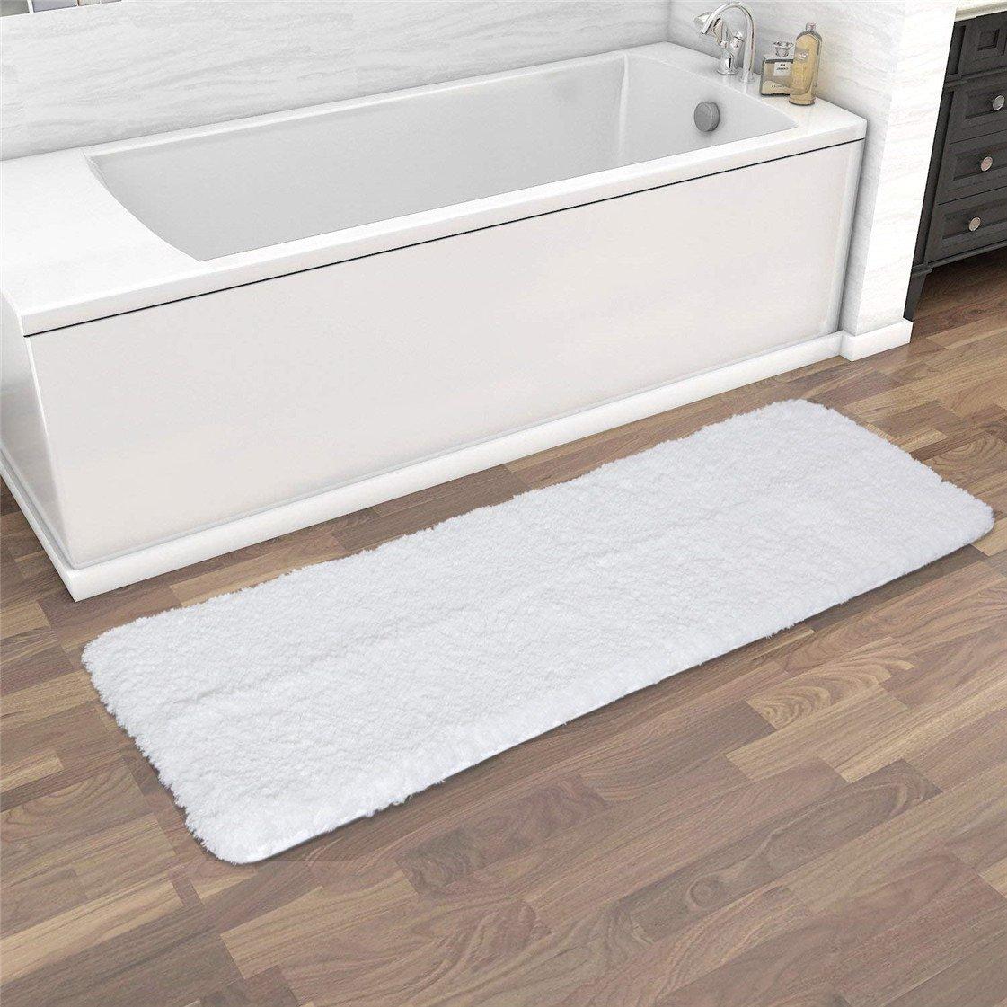 Bathroom Rug, Soft Microfiber Non-Slip Long Rubber Bath Rug Anti- Bacterial Mats (47'' Length x 18'' Width) - Machine Washable, White