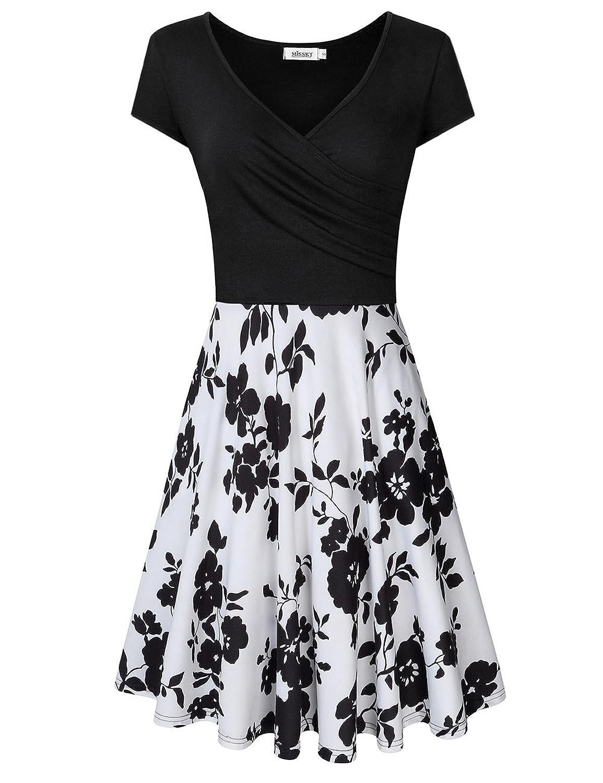 MISSKY Women's V Neck Long Sleeve Pocket Floral Print Swing Casual Dress